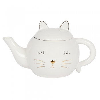 White Cat Face Ceramic Tea Pot