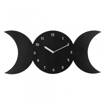 Black Triple Moon MDF Clock